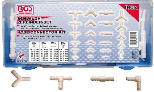 BGS 8790 | Schlauchverbinder-Sortiment | 100-tlg. | kraftstoffbeständig | ölbeständig | T,L,I,Y-Verbinder
