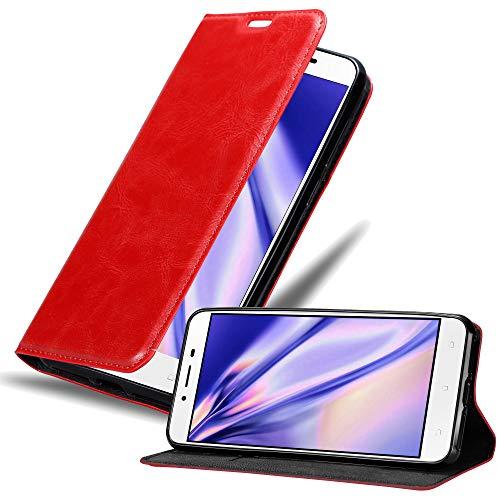 Cadorabo Hülle für Asus ZenFone 3 MAX (5,5 Zoll) - Hülle in Apfel ROT – Handyhülle mit Magnetverschluss, Standfunktion & Kartenfach - Hülle Cover Schutzhülle Etui Tasche Book Klapp Style