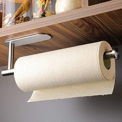 KEGII Küchenrollenhalter ohne Bohren - Papierrollenhalter Selbstklebend Praktisch Rollenhalter unter dem Schrank, Edelstahl