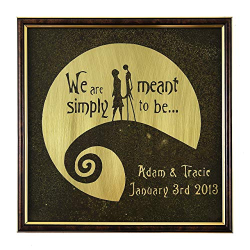 Nightmare Before Christmas Personalized Wedding Gift. Hand Engraved and Painted. Anniversary Valentine's Jack and Sally Wall Art on Real Brass or Copper. Metal Sign. Handmade with Love