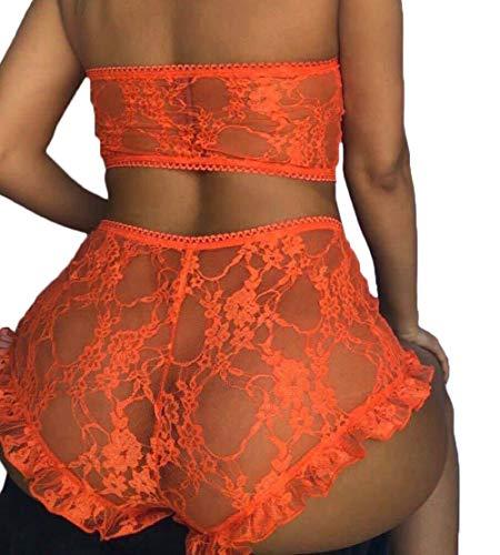 Sexy Women Lace Lingerie Set 2PCS See Through Tube Tops Wrap Bra and Panty Sets Babydoll Pajamas Sleepwear for Women (Orange, M)