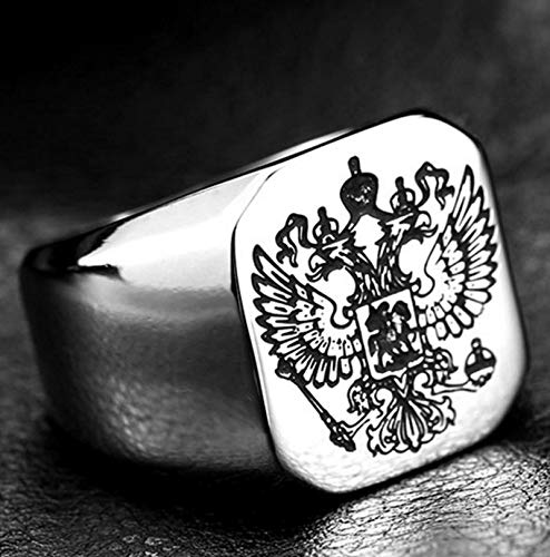 SUMEN Classic Punk Metal Russian Double Headed Eagle Ring Glamour Men'S Rock Party Jewelry