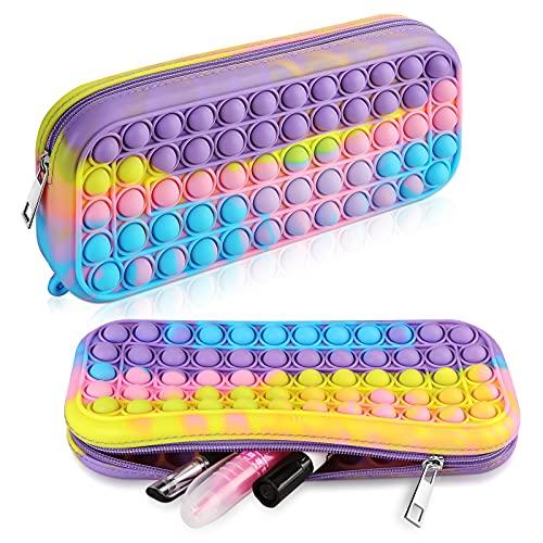 XNMOA Pop Pencil Case,Popping Fidget Toy Pencil Bag ,Push Bubble Silicone Sensory Toy Cute School Supplies,Large Capacity Simple Pop Dimple Sensory Pencil Box For Teen Girls Office women