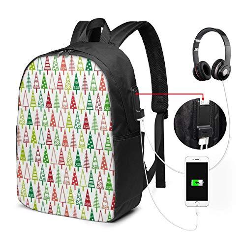 Reise-Laptoprucksack, Business-Laptoprucksack mit USB-Ladeanschluss, für Schule und Schule, Geschenk für Damen und Herren, passend für 39,6 cm (15,6 Zoll) Notebook, Weihnachtsmapeten 038