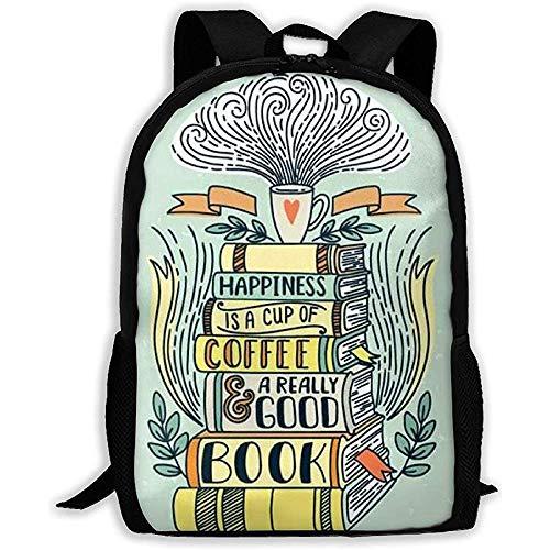 Kaffee und Buch Clipart Print Erwachsenen Rucksack Reiserucksack Business Taschen Student Lightweight Laptop für Männer & Frauen