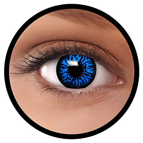 Farbige Kontaktlinsen blau Blue Dämon + Behälter, weich, ohne Stärke in als 2er Pack (1 Paar)- angenehm zu tragen und perfekt für Halloween, Karneval, Fasching oder Fastnacht Kostüm