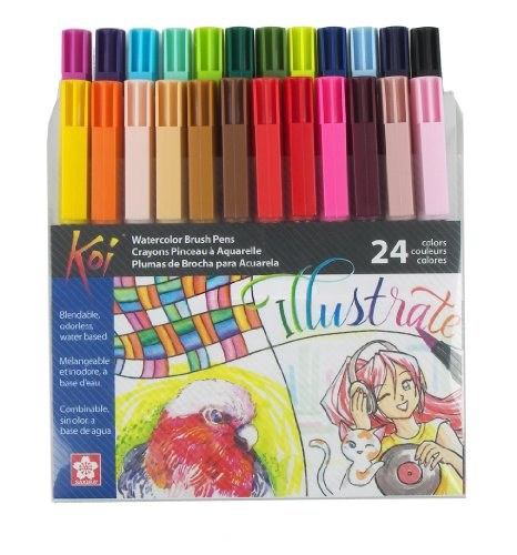 Sakura XBR-24SA 24-Piece Koi Assorted Coloring Brush Pen Set