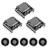 3PCS Mini MP3 Player Audio Module with 5PCS Metal Shell Round Internal Magnet Speaker 2W 8Ohm MP3 Voice Decode Board TF Card U Disk IO/Serial Port/AD Board DFPlayer Audio Music Module for Arduino