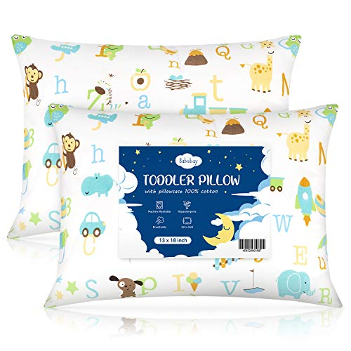 Toddler Pillow,13 x 18 Baby Pillows for Sleeping, Machine Washable Kids Pillow with Soft Cotton Pillowcase, Perfect for Travel, Toddlers Cot, 2 Pack