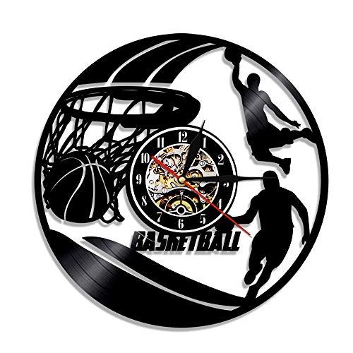30cm Play Basketball Disco de vinilo Reloj de pared Diseño moderno Deportistas deportivos Decoración del hogar Reloj para el amante del baloncesto Regalo Luz LED 7 Cambio de color Regalos para amigo