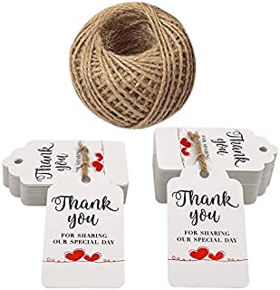 Original Design Gift Tags,100PCS Thank You for Sharing Our Special Day Tags with 100 Feet Twine,White Paper Party Favor Tags -2.8