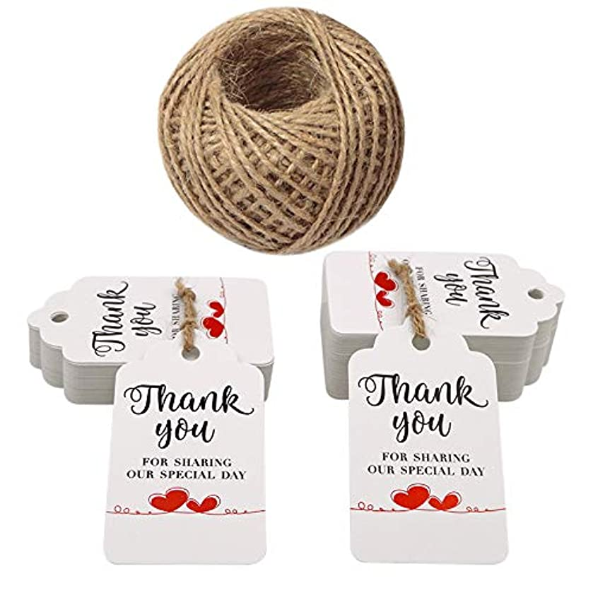 Original Design Father's Day Tags,Gift Tags,Paper Tags,100PCS Thank You for Sharing Our Special Day Tags with 100 Feet Jute,2.8