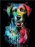 Pintar por Numeros DIY Cuadro al óleo con números Perro de color acuarela para Kit de Pintura al óleo Digital para Adultos y niños de Lienzo decoración para el hogar 40x50cm Sin Marco