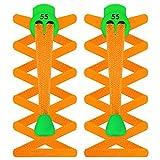 55Deporte elástico Plano® Bloqueo Cordones, Hombre Mujer Infantil, Naranja Fluorescente, Talla única