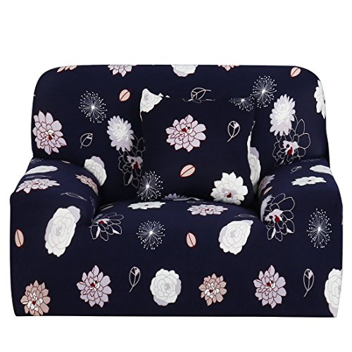 Sourcingmap Housse extensible Forme ajustée, antidérapant, élégant protecteur pour meubles tels qu'un canapé, doux et léger. Housse de canapé de 139,7 cm à 190,5 cm, Elegant Flower, Chair-1seater