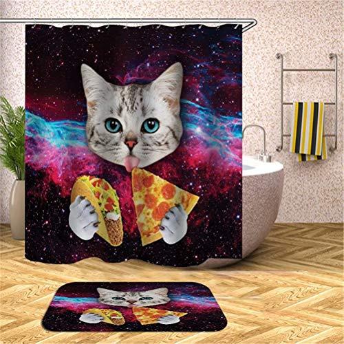 ZZZdz Katze, Die Pizza Isst. Duschvorhang: 180X180Cm. Badezimmerteppich: 40X60Cm. Duschvorhang Bodenmatte Set Kombination Bodenmatte rutschfeste Türmatte Teppich.