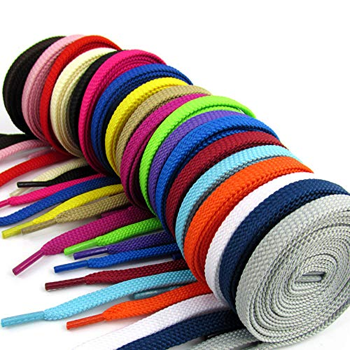 Juipniss 20 Pairs Flat Colored Shoelaces for Sneakers Skate Shoes Boots and Sport Shoes (40'' Colored)