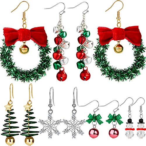 6 Pairs Christmas Dangle Earrings Set Snowflake Santa Tree Bells Snowman Earrings Pierced Hook Drop Earrings for Women