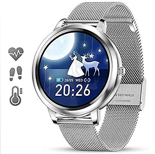 DOOK Smartwatch Reloj Inteligente para Mujer con Pulsómetros Monitor de Sueño,Podómetro,15 Modos Deportivos,Pulsera Actividad Inteligente Impermeable IP67 para Android iOS iPhone Xiaomi Huawei,Plata