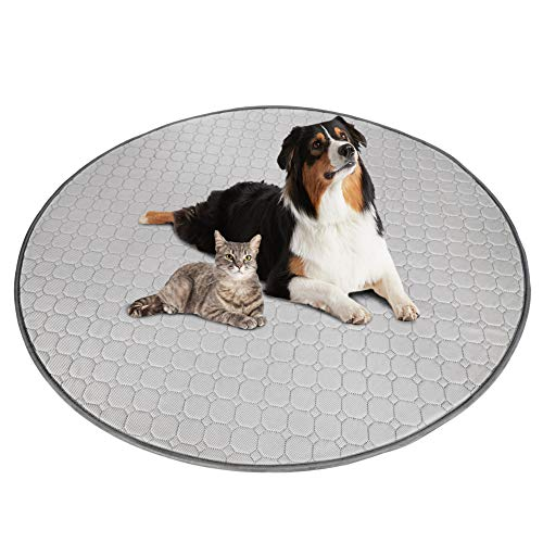 ULIGOTA Washable Pee Pad Dog Cooling Pad Playpen Mat 48' Round Puppy Playpen Pad Fast Absorbing Reusable Whelping Puppy Pad Waterproof Training Pad