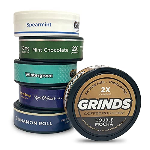 Grinds Coffee Pouches | New 6 Can Sampler | Wintergreen, Spearmint, Cinnamon Roll | 2X Caffeine: Mocha, Mint Chocolate, New Orleans | Tobacco & Nicotine Free Healthy Alternative