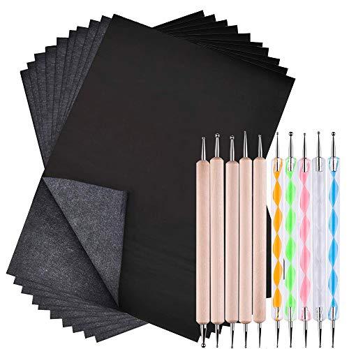 SENHAI 100 Blätter Kohlenstoff Überweisungs Papier & 10 Stck Double Ended Prägestift Set für Zeichnung, Skizzierung, Keramik Lehm Kunst, und andere Kunstoberflächen