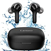 #LightningDeal True Wireless Earbuds,Lanteso Waterproof TWS Bluetooth Earbuds with Mics Noise Reduction Touch Control Bluetooth Headphones with Bass Sound in Ear Earphones for Sports,Home Office
