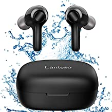 True Wireless Earbuds,Lanteso Waterproof TWS Bluetooth Earbuds with Mics Clear Call Touch Control Bluetooth Headphones with Bass Sound in Ear Earphones for Sports,Home Office