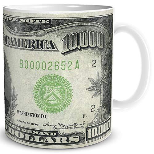TRIOSK Tasse Geld Schein 10000 Dollar Banknote Dollarschein Geldschein Geldgeschenk Geschenk Verpackung für Hochzeit Geburtstag