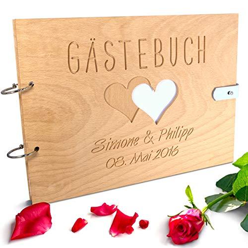 Handgearbeitetes Gästebuch zur Hochzeit aus Holz mit personalisierter Gravur & Lederverschluss -...