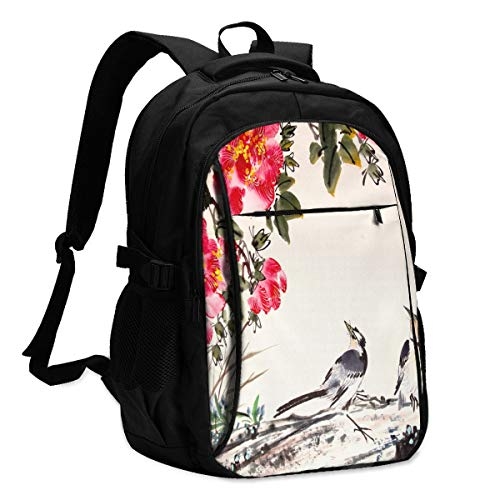 Birds Stand On Tree Backpack Personality Durable Waterproof with USB Charging Port for School College Students Backpack
