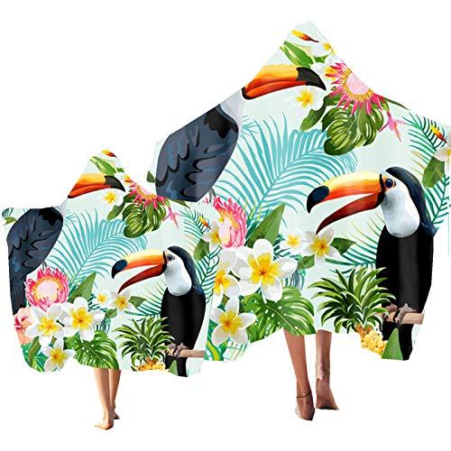 Niño Toalla de Playa Toalla Encapuchado Tropical Planta Animal Flamenco Tucán Impresión Poncho Toalla de Baño Adulto Piscina Playa Bañarse Parque Acuatico (Color 4, Niño: 130 × 150 cm)