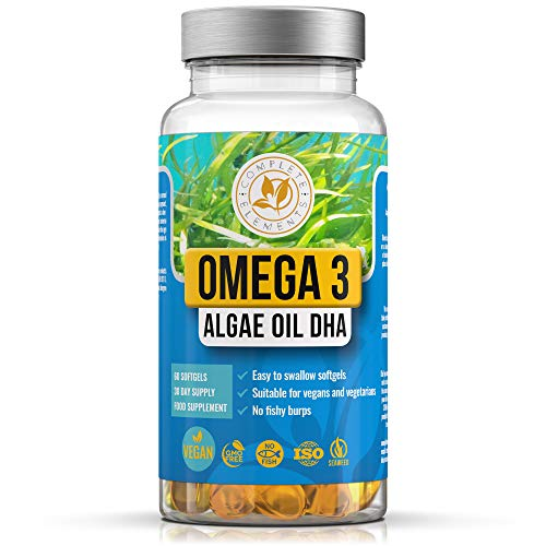 Vegan Omega 3 Algae Oil | 60 High Strength Capsules | 400mg DHA Supplement with Vitamin E | Vegetarian Essential Fatty Acids | Sustainable Marine Algal Alternative to Fish Oil