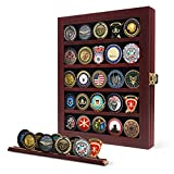 Challenge Coin Display Case Coin Case Challenge Coin Holder Coin Box Military Coin Display Case 92% Clear Antitheft Twin Slot Coin Rack fits 45 Military Medals Poker Chip for Collectors Mahogany Frame