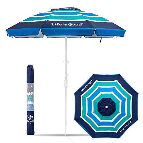 Life is Good ALIGUMB-GB-1PK Beach Umbrella with Sand Anchor, Towel Hook, and Tilting Pole, Green/Blue