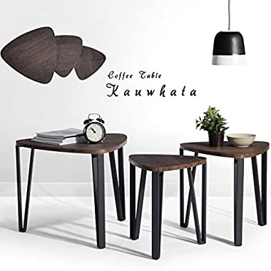 Coffee Table Set of 3 Industrial End Side Table Night Stand Table Nesting Corner Table Stacking Tea Table Espresso Modern Leisure Wood Table With Metal Tube For Living/Waiting Room Balcony and Office