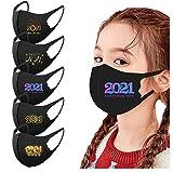 Orderking 5 Stück Mundschutz Erwachsene Kinder mit 2021 New Year Motiv ṁɑşḱ Waschbar Wiederverwendbar Mund-Nasen Bedeckung Atmungsaktiv Multifunktionstuch Halstuch Schals (#01-B)