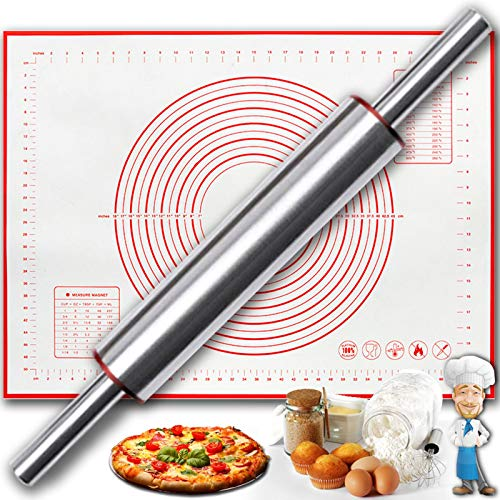 Rolling Pin Set of 2, 17.5 Inch Stainless Steel Rolling Pins with 24 x16 Inch Silicone Baking Mat, Non Stick Revolving Dough Roller, Best for Pasta, Fondant, Pastry, Pizza, Pie, Crust, Cookies, Red