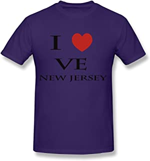 CUAUNED I Love New Jersey T-shirt For Men Very 100% Cotton Shirts For Mens