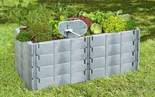 Juwel Hochbeet Profiline Basis-Set basalt (24 Gartenbausteine inkl. Verbindungselemente, Blumenbeet mit Stabilisierungs-Set, Größe 130x60 cm Höhe 52 cm) 20577