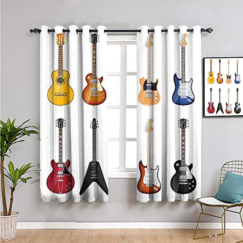 guitar Printed Bedroom Curtains Decor, Curtains 45 inch length a wide variety of...