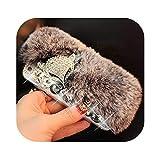 高級ブリンブリンラインストーンケースFOR iPhone 11プロマックス7 6 6 s 8プラスXウサギの毛皮ケースカバーFOR iPhone XR XS MAX 7シェル-Gray-FOR iPhone XS MAX