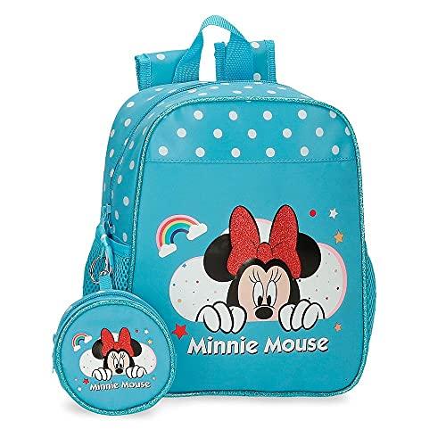 Disney Minnie Rainbow Mochila Guardería Azul 21x25x10 cms Poliéster 5,75L