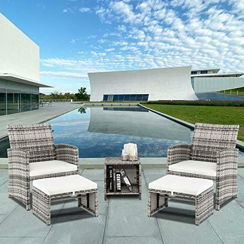 5 PCS Grey Rattan Wicker Modern Outdoor Chairs Set with Ottoman, Coffee Table and Cushions, Porch Deck Lounge Chair, Patio Furniture Conversation Sets