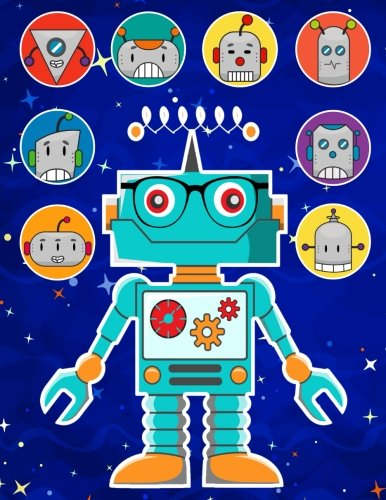 Robots Sticker Album 2 For Boys: 100 Plus Pages For PERMANENT Sticker Collection, Activity Book For Boys - 8.5 by 11 (More Kool Kidz) (Volume 30)