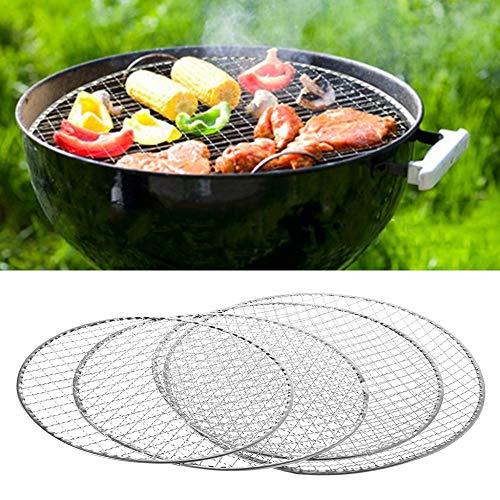 SPLLEADER Disposable BBQ Griglia for Barbecue Carrello Rete Metallica Netto Carne Pesce Verdure Strumento di 26CM / 28CM / 30CM / 33CM Opzionale graticola per Barbecue (Color : Diameter 33cm)