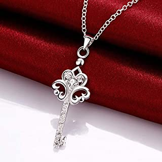 Jewelry Europe and America Creative Fashion Silver Plated Key Necklace Zircon Item (Color : Blue) Girls Necklace (Color : White)