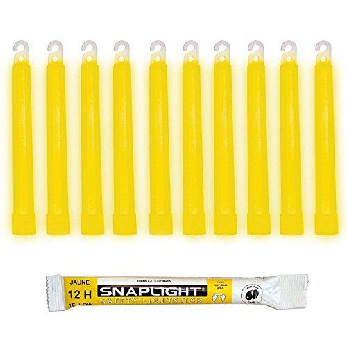 Cyalume CM-4MZB-7TBR - Barras de luz amarillo SnapLight Glow Sticks 15 cm, 6 Inch Lightstick super brillante con duración de 12 horas (Caja de 10)