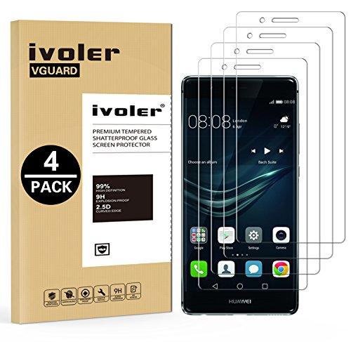 ivoler [4 Unidades] Protector de Pantalla para Huawei P9 Lite, Cristal Vidrio...