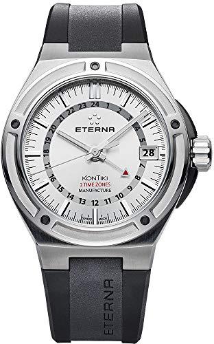Montre Eterna Royal KonTiki, Eterna 3945-A, Blanc, Bracelet en caoutchouc